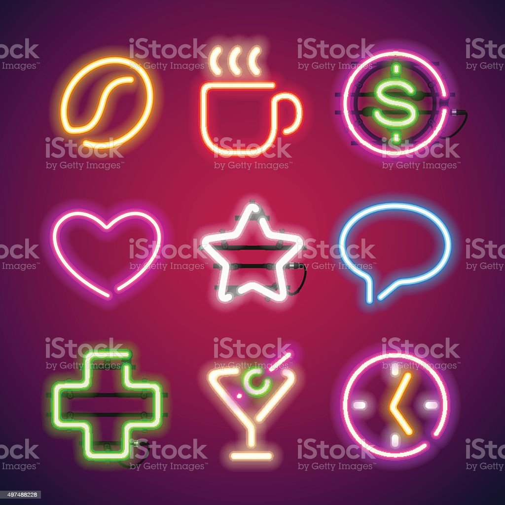 Glowing Neon Signs Set vector art illustration