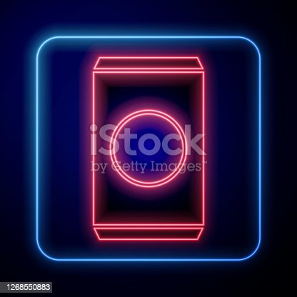 istock Glowing neon Soda can with drinking straw icon isolated on blue background. Vector Illustration 1268550883