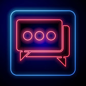 Glowing neon Speech bubble chat icon isolated on blue background. Message icon. Communication or comment chat symbol. Vector Illustration