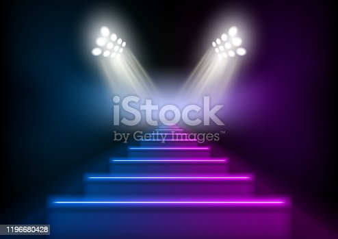 3D Glowing Neon Stairs Illuminated By Spotlights. EPS10 Vector