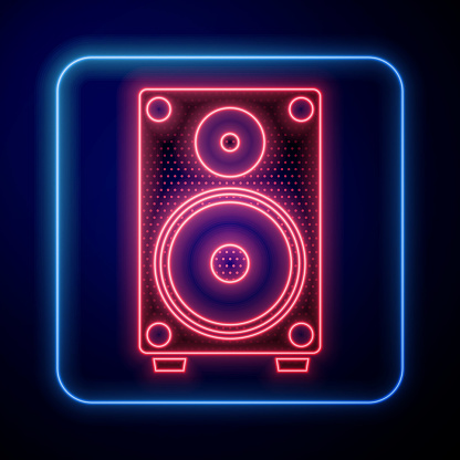 Glowing neon Stereo speaker icon isolated on blue background. Sound system speakers. Music icon. Musical column speaker bass equipment. Vector Illustration