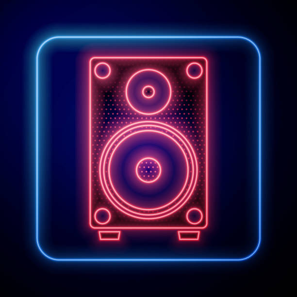 Glowing neon Stereo speaker icon isolated on blue background. Sound system speakers. Music icon. Musical column speaker bass equipment. Vector Illustration Glowing neon Stereo speaker icon isolated on blue background. Sound system speakers. Music icon. Musical column speaker bass equipment. Vector Illustration blue clipart stock illustrations