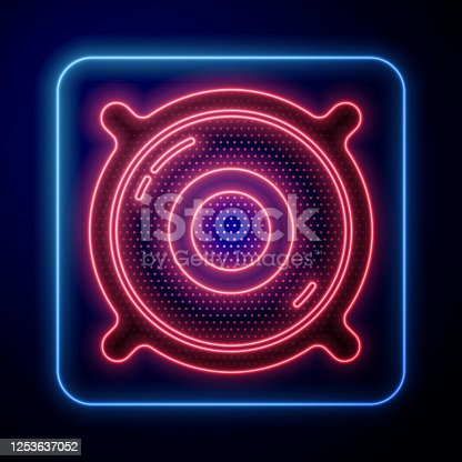 istock Glowing neon Stereo speaker icon isolated on blue background. Sound system speakers. Music icon. Musical column speaker bass equipment. Vector Illustration 1253637052