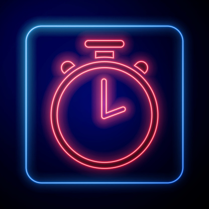 Glowing neon Stopwatch icon isolated on blue background. Time timer sign. Chronometer sign. Vector Illustration