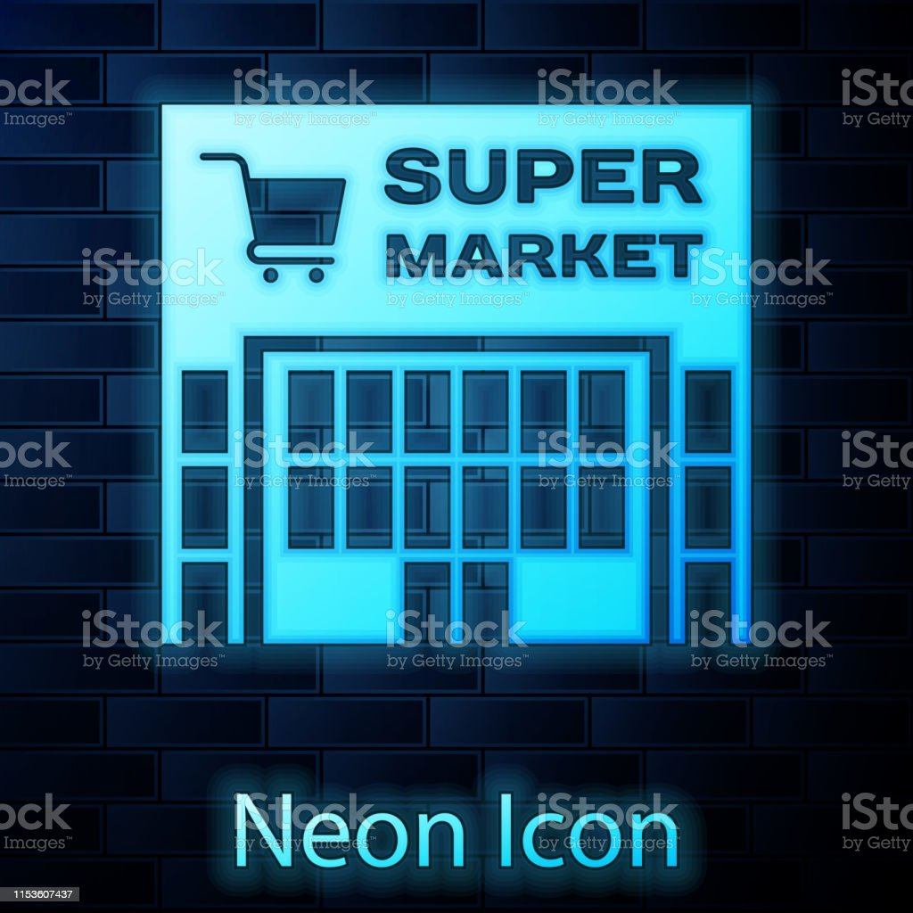 Glowing neon Supermarket building with shopping cart icon isolated on...