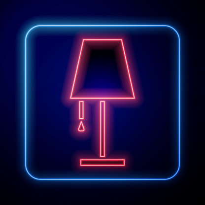 Glowing neon Table lamp icon isolated on blue background. Vector Illustration
