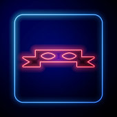 Glowing neon Thief eye mask icon isolated on blue background. Vector Illustration