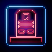 Glowing neon Tombstone with RIP written on it icon isolated on blue background. Grave icon. Vector Illustration