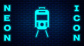 Glowing neon Tram and railway icon isolated on brick wall background. Public transportation symbol. Vector.