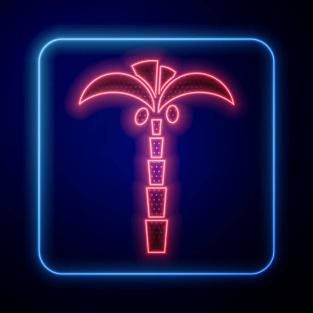 Glowing neon Tropical palm tree icon isolated on blue background. Coconut palm tree. Vector Illustration Glowing neon Tropical palm tree icon isolated on blue background. Coconut palm tree. Vector Illustration beach clipart stock illustrations