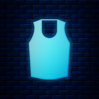 Glowing neon Undershirt icon isolated on brick wall background. Vector
