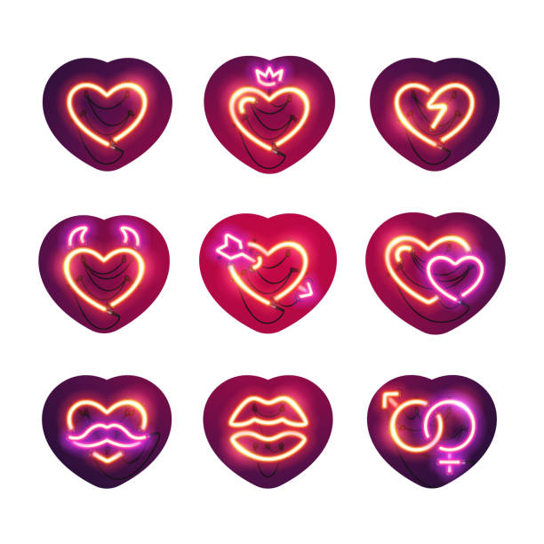 glowing neon valentine hearts sticker pack - date night stock illustrations