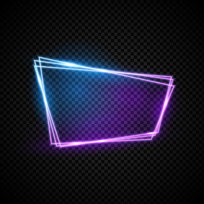 Glowing neon vector frame with light effect