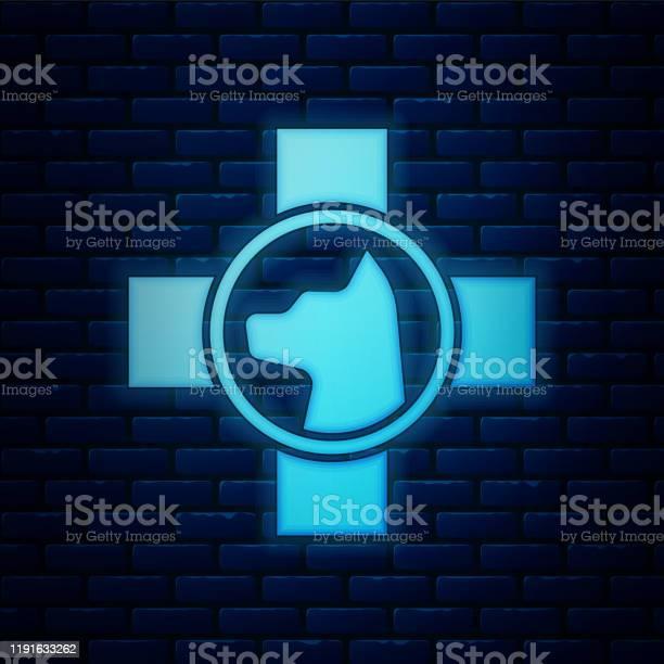 Glowing neon veterinary clinic symbol icon isolated on brick wall vector id1191633262?b=1&k=6&m=1191633262&s=612x612&h=ly msalqqjdjvs6ybe6cnwwfkigp3cl9ypwjrfotxws=