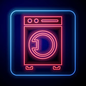istock Glowing neon Washer icon isolated on blue background. Washing machine icon. Clothes washer - laundry machine. Home appliance symbol. Vector Illustration 1268550126