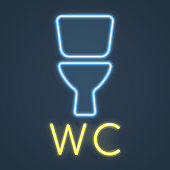 Glowing neon wc, restroom sign on dark background. Toilet bowl icon. Vector illustration.