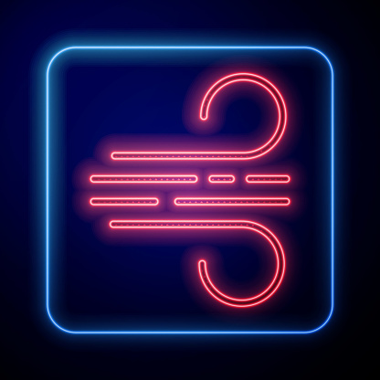 Glowing neon Wind icon isolated on blue background. Windy weather. Vector Illustration