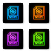Glowing neon WMA file document icon. Download wma button icon isolated on white background. WMA file symbol. Wma music format sign. Black square button. Vector Illustration