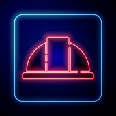 Glowing neon Worker safety helmet icon isolated on blue background. Vector Illustration