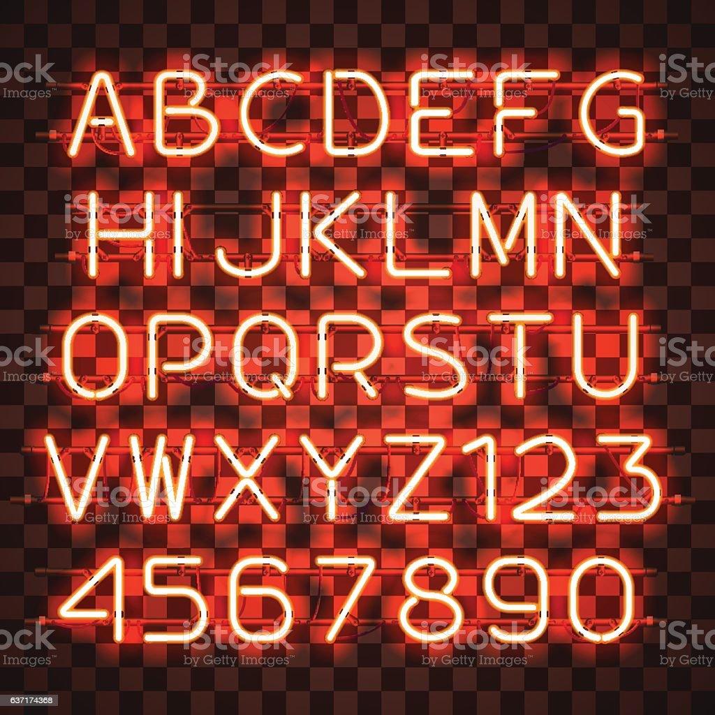 Glowing Orange Neon Alphabet. vector art illustration