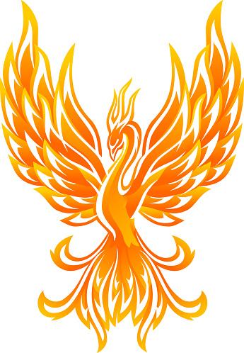 Glowing Phoenix Bird, Abstract Flaming Body