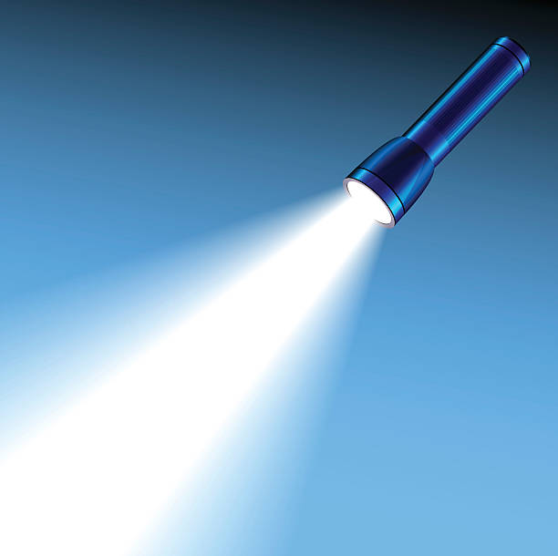 Glowing pocket torch light Focused glowing pocket torch light on blue background flashlight stock illustrations