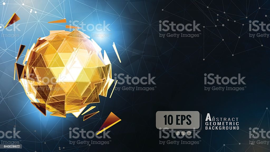 Glowing polygonal sphere on dark blue BG vector art illustration