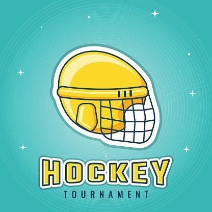 Leuchtende Poster Oder Flyer Design Mit Gelben Eishockey