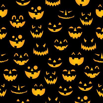 Glowing Pumpkin Faces Seamless Pattern