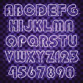 Glowing purple alphabet with letters from A to Z and digits from 0 to 9. Glowing neon effect. Every letter is separate unit with wires, tubes and holders and can be combined with other.