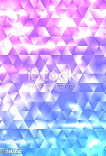 Glowing rainbow geometric gradient triangle mosaic background. Template for cover, brochure, flyer, banner, poster. Abstract electric colorful vector backdrop with flares and sparkles.