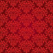 Seamless glowing red damask luxury decorative textile pattern.