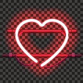 Glowing red neon heart