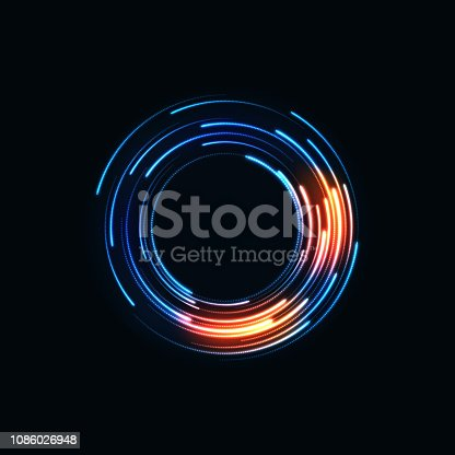 Technology digital background. Glowing sci-fi interface HUD element with distorted lines, swirls, bright sparkles. Vector illustration