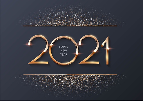 Glowing shiny golden new 2021 year numbers with glitter on gray background. Festive winter holiday merry Christmas decoration. Vector 2021 New Year illustration