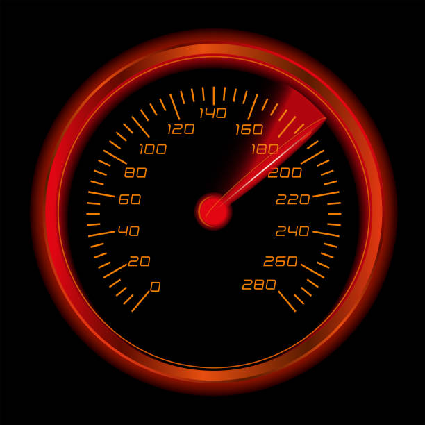 Glowing Speedomenter Speedometer glowing in the dark speedometer stock illustrations