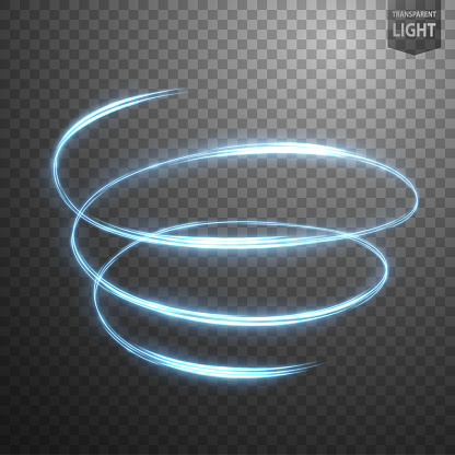 Glowing Spiral on transparent background, Abstract light speed motion effect