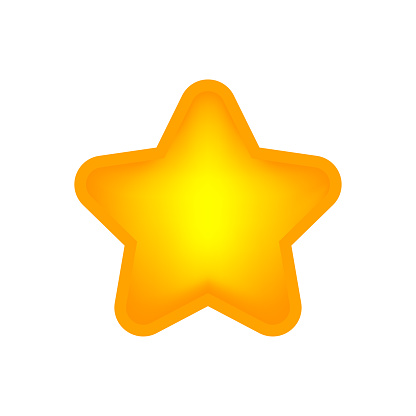 glowing star shape sign isolated on white, one star cute yellow gold color, bright 1 star icon for clip art for element graphic, illustration star simple shape for rating vote symbol