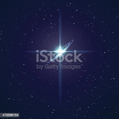 This stock vector illustration features space with a bright star slightly on the top side. It is a combination of small far stars with cross light refractions incorporating bright colors, including vibrant blues and whites. The use of reflection and tone portrays a sense of depth. The image has a bleached-out colorful tone. Image includes a standard license along with the option of upgradeable extended license.