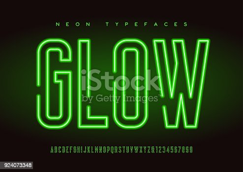 Glowing vector linear neon typefaces, alphabet, letters, font, typography Global swatches