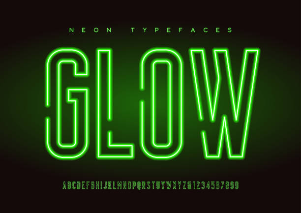 Glowing vector linear neon typefaces, alphabet, letters, font, typography Glowing vector linear neon typefaces, alphabet, letters, font, typography Global swatches commercial event stock illustrations
