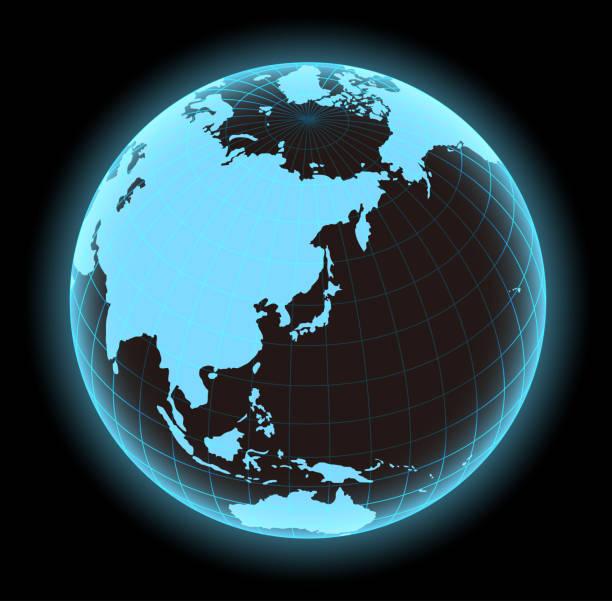 光る世界地図ベクター イラスト (グローブ ・球)。日本と東アジアに焦点を当てます。 - 地球 日本点のイラスト素材/クリップアート素材/マンガ素材/アイコン素材