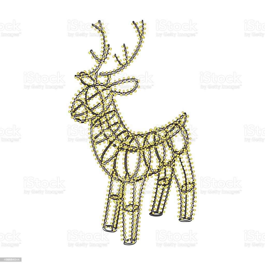 Glowing Xmas Deer Sculpture Garland On Metal Frame stock vector art ...