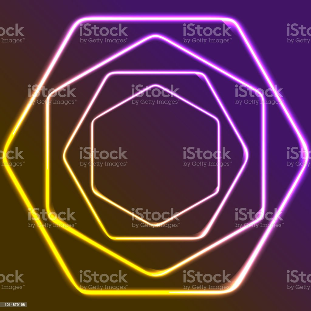 Glowing yellow and purple neon hexagons shiny design vector art illustration