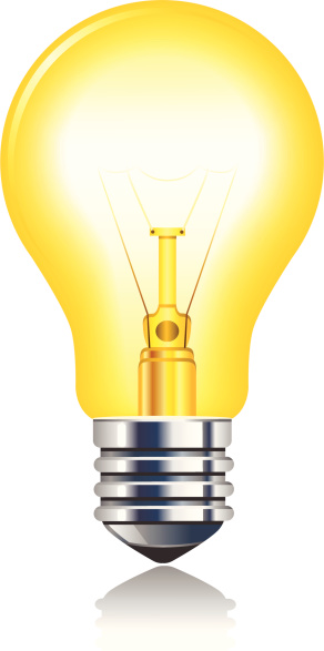 Glowing Yellow Incandescent Light Bulb
