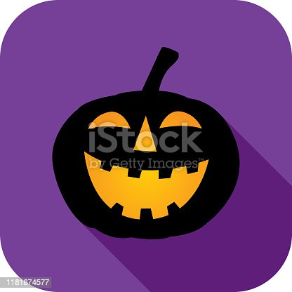 Vector illustration of a glowing black pumpkin with shadow on a purple background.