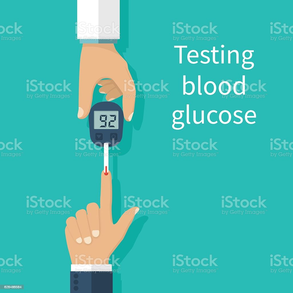 Glucometer in hand. Diabetes concept vector art illustration