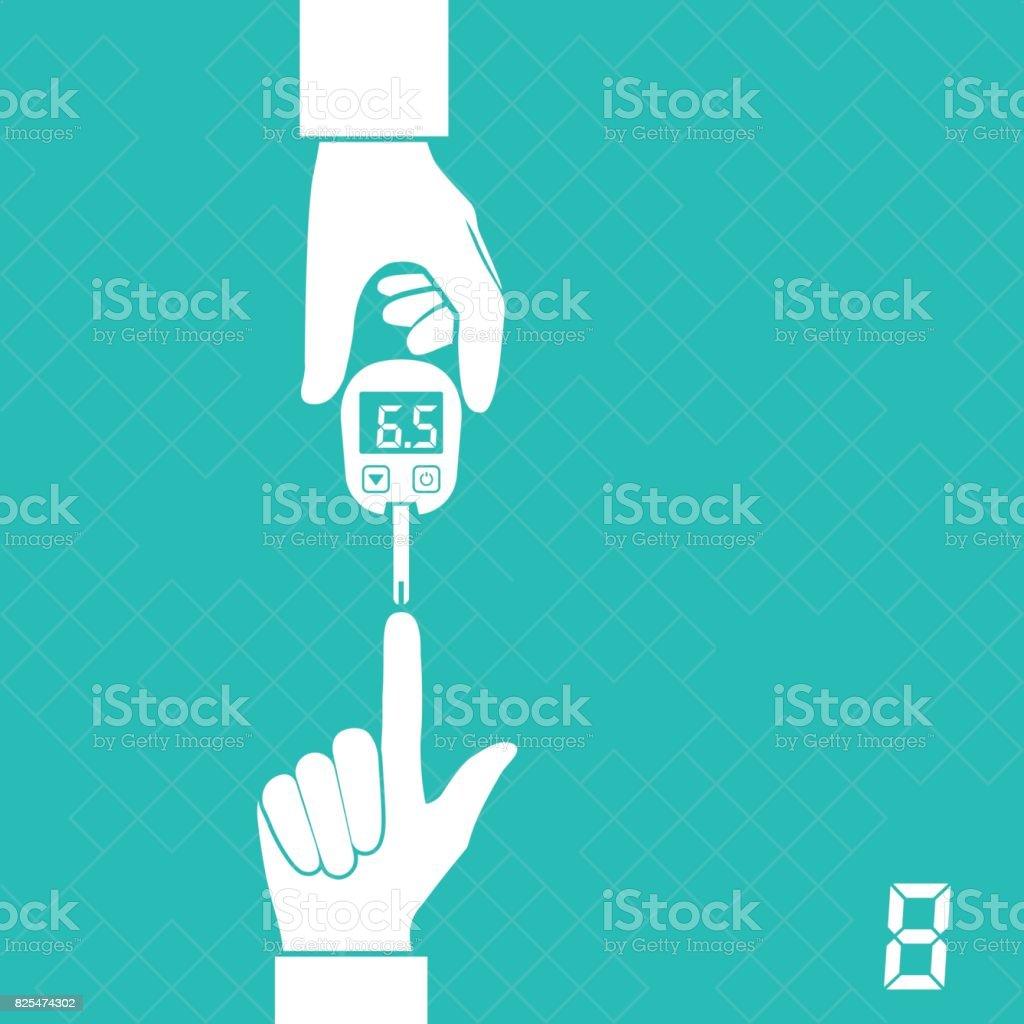 glucometer measures blood sugar vector art illustration