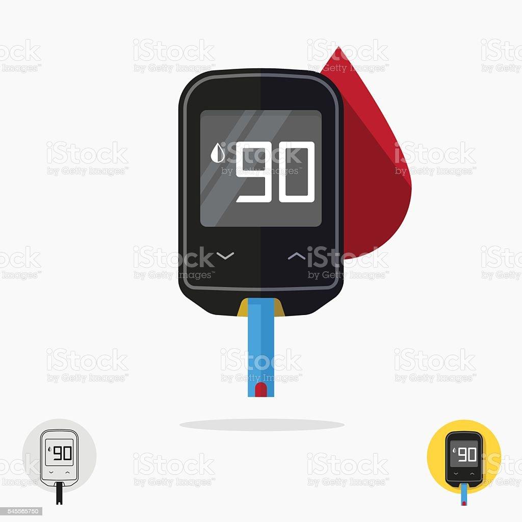 Glucometer pharmacy medical measuring portable technology glucose test tool vector art illustration