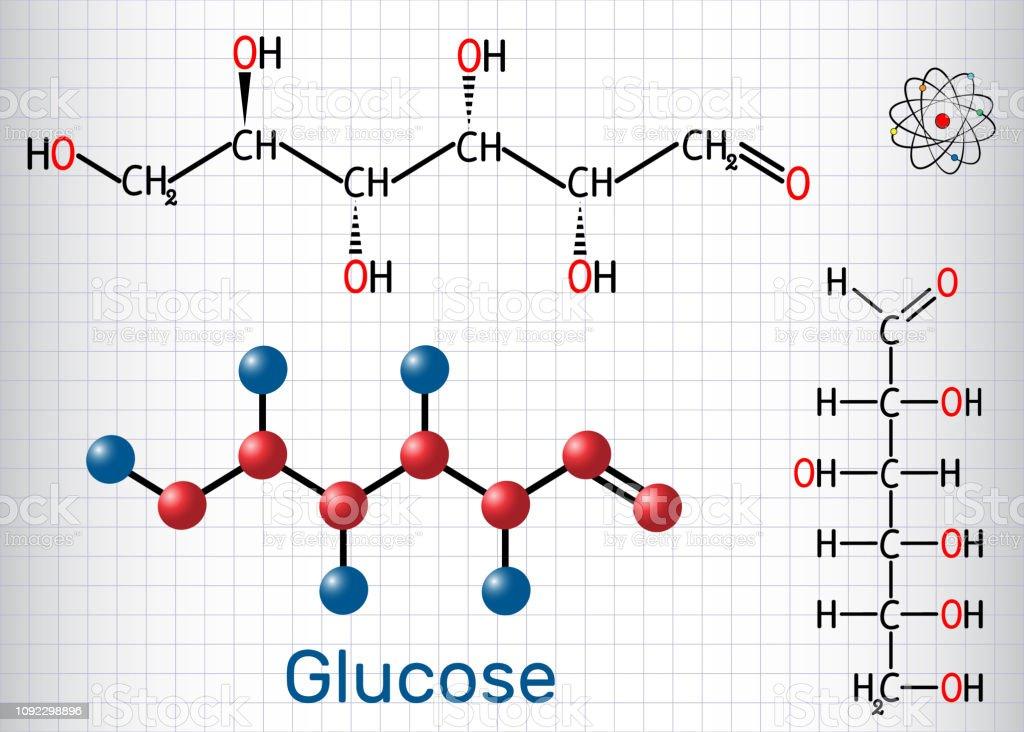 Glukose Molekül Lineare Form Blatt Papier In Einem Käfig